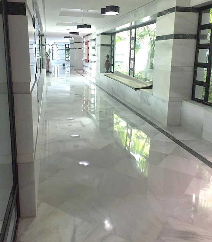 Floor crystallization or buffing